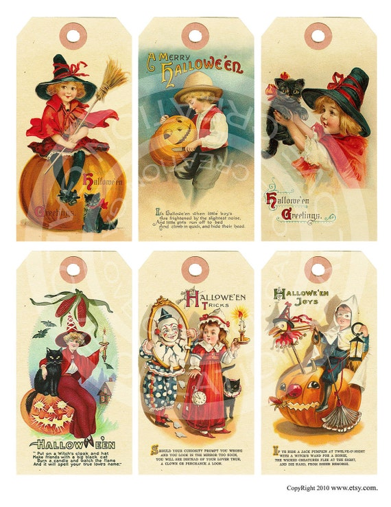 Vintage Halloween Witches Pumpkin Candy Cat Celebrate Tea Party greeting card Labels Hanging Gift Tags Digital Collage Sheet Images Sh163