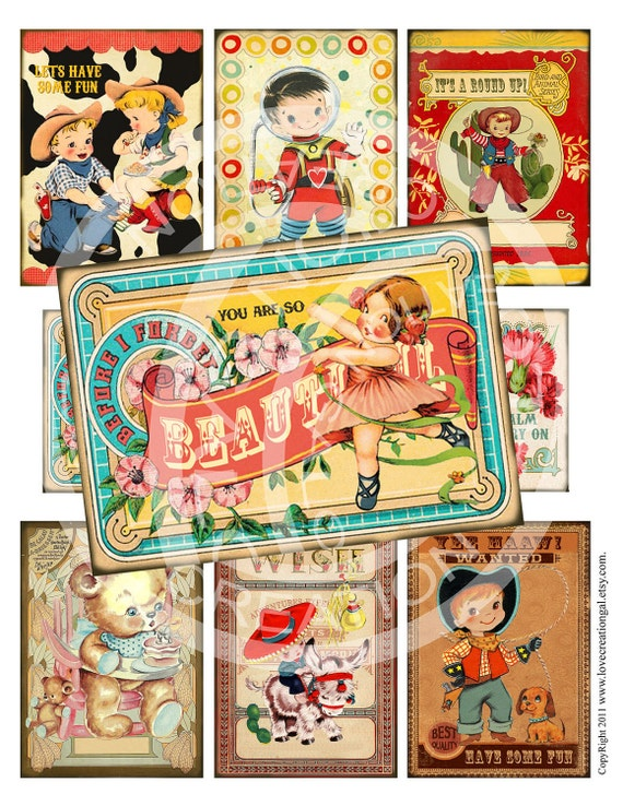 Vintage Retro illustration Birthday Party Pregnacy Boy Girl Celebrate Cowboy Cowgirl Label cards Digital Collage ACEO Sheet Images Sh172