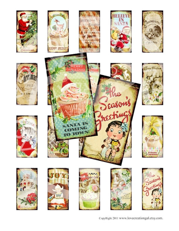 Vintage Retro Christmas Party Santa Deer Stocking Cupcakes Boys Girls 1 x 2 inch domino GLASS TILE Labels Digital Collage Sheet Images Sh207