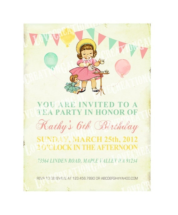 Digital PRINTABLE Vintage Celebrate Birthday Shabby Chic Tea Party Girl Daughter Princess Children Baby Shower Invitation Cards Sheet IN19