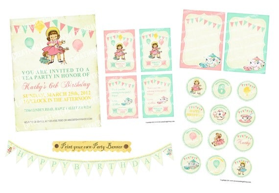 Printable Vintage Tea Party Package Set Girl Daughter Princess Children Teapot Cup Celebrate Banner Nursery Invitation Label Card Tag  PP04