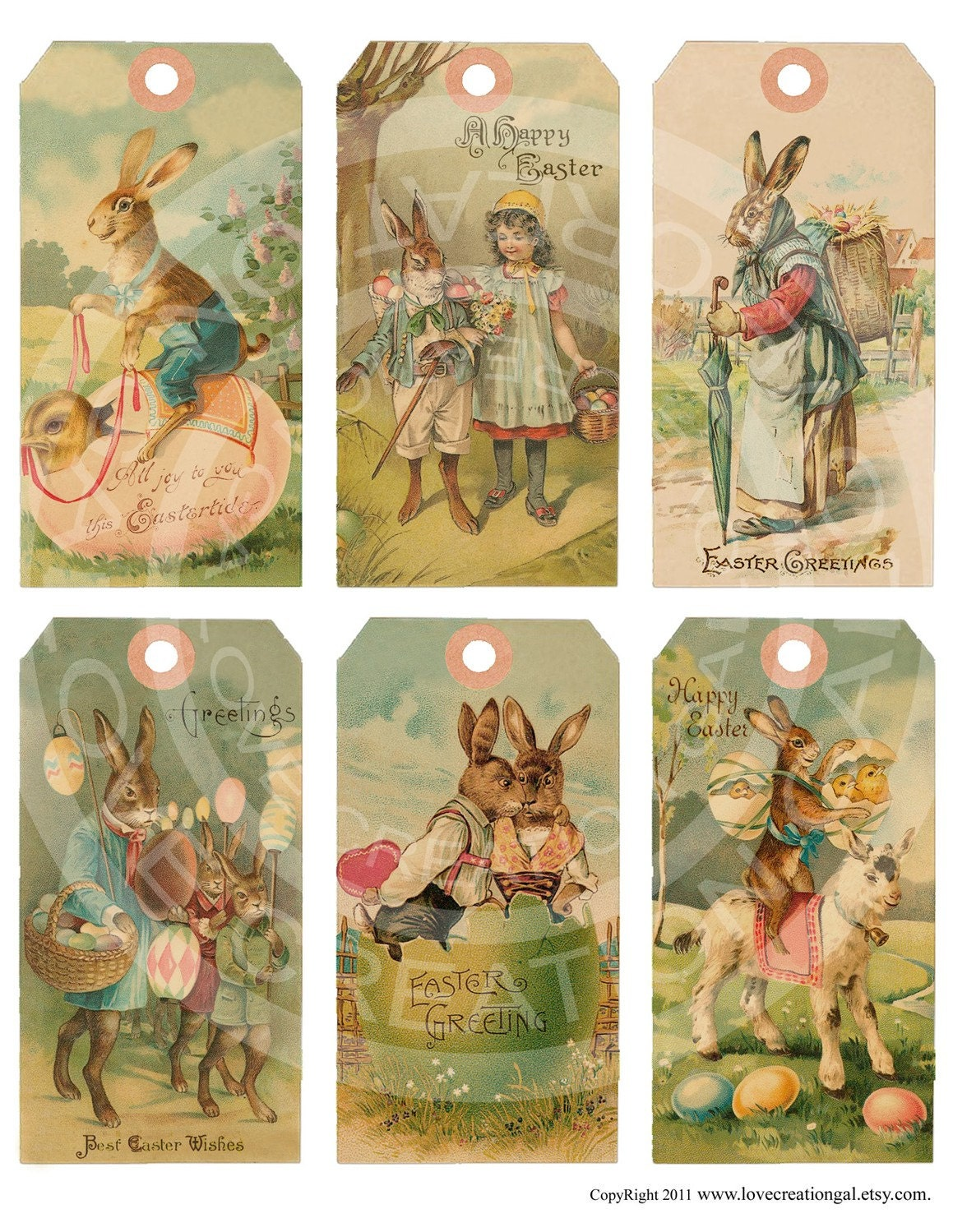 Vintage Shabby Easter Bunnies Chick Children by lovecreationgal