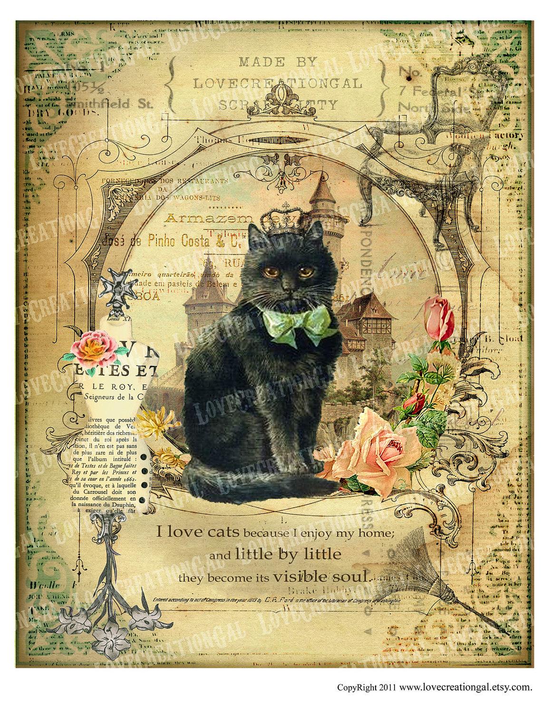8x10 Printable Art Digital Images Vintage Love Kitty Cat Crown