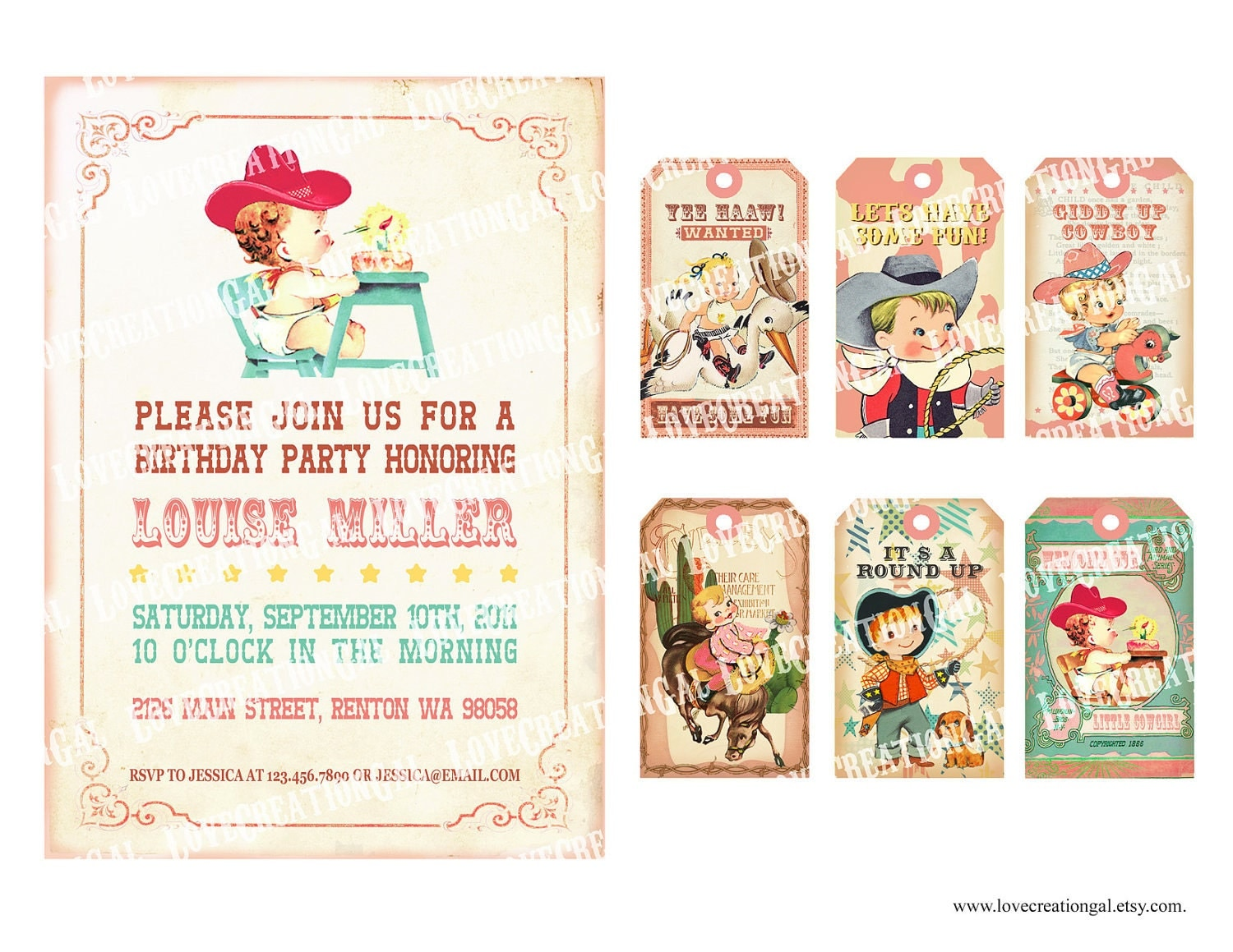 Digital PRINTABLE Vintage Baby Girl COWGIRL Cowboy Shower - Vintage girl birthday invitation