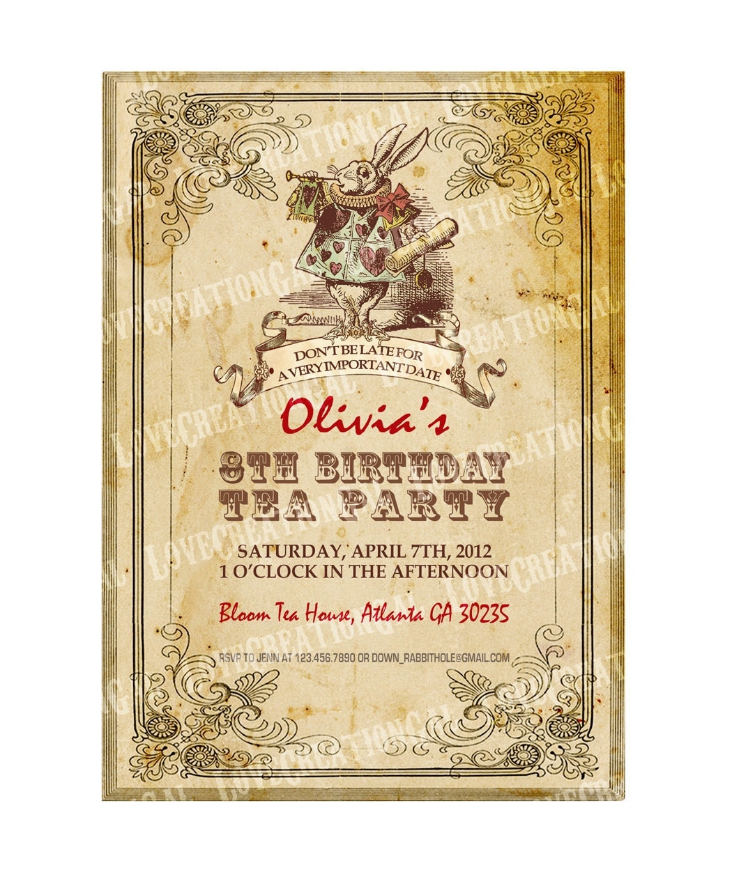 Alice In Wonderland Birthday Invitation Mad Hatter Tea Party