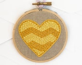Yellow Chevron Heart Embroidery