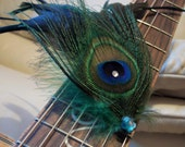 Large Peacock Feather Hair Clip with Swarovski Rhinestones