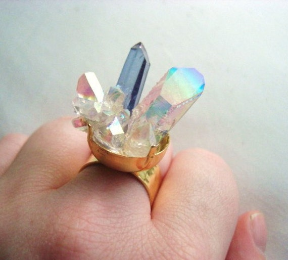 Space Kitten Mixed Crystal Ring // Tanzine and Angel Aura Quartz on 24k gold plated band // Adjustable