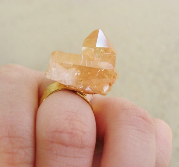 RESERVED for M // SALE // M A R S // Tangerine Aura Quartz on 24k gold plated band // Adjustable