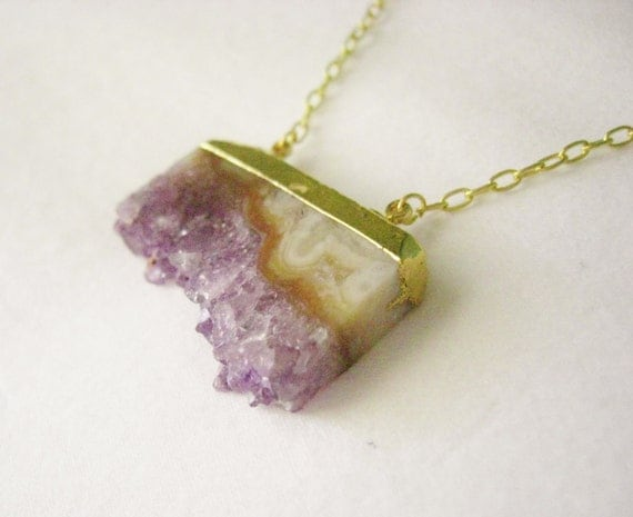 K A L L I S T O // 22k Edged Amethyst Slice Natural History Necklace