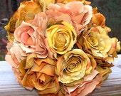 autumn wedding vintage style orange and gold rose bouquet ready to ship