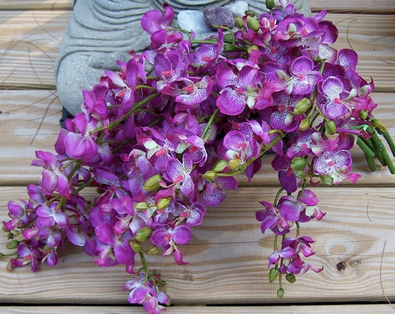 RESERVED for Christine--HAWAIIAN Purple Orchid Cascade Brides Wedding Bouquet