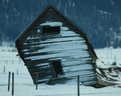 Old Snow Covered Barn Collapsing in Cascade Idaho