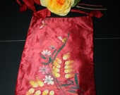 Antique Hand Painted Silk Bag for Jewelry Gloves Hankies Victorian-1920s