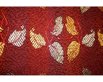 Vintage Silky Arts and Crafts Bedspread Throw Hand Woven With Leaves