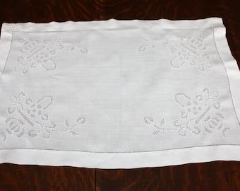 Antique Tray Cloth Drawn Thread Work White Linen Whitework
