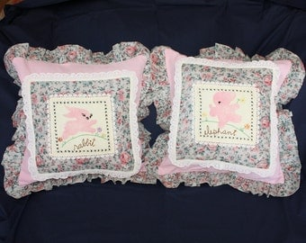 Pair Vintage Pillow Covers Handmade with Unused Vintage Fabrics and Quilt Blocks - 2