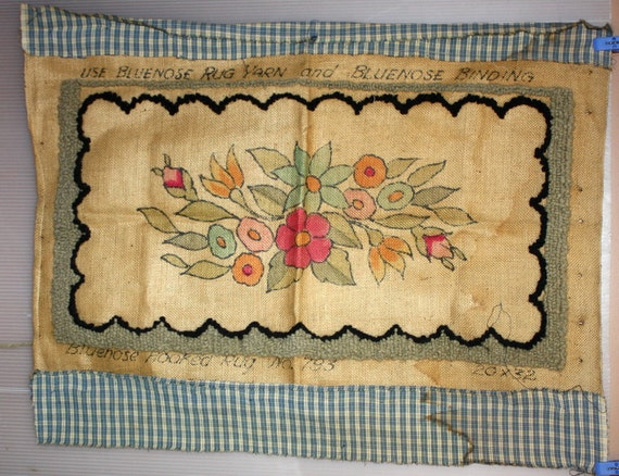 Vintage Rug Hooking Hand Painted Canvas Arts And Crafts