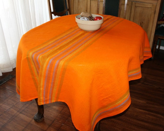 Vintage Tablecloth 1970s Orange Stripes Unused 52 x 70
