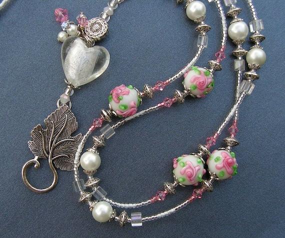 Beaded Lanyard ID Badge Holder Pink Roses FREE SHIPPING heart elegant flower floral lampwork beads lariat