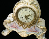 Last Time to List - French Porcelain Clock - Hand Painted - c.1900