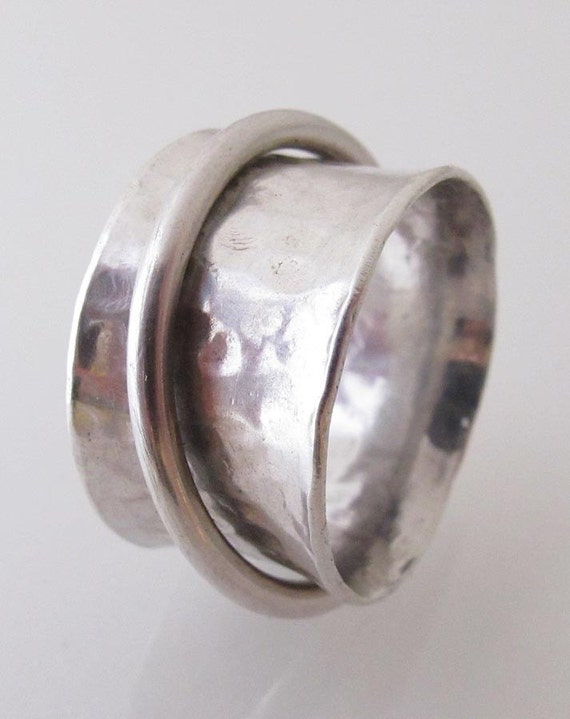 forged sterling silver spinning ring for by