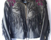 Vintage ROSES Motorcycle Fringe Jacket