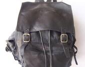 Vintage Black Leather Rucksack Backpack