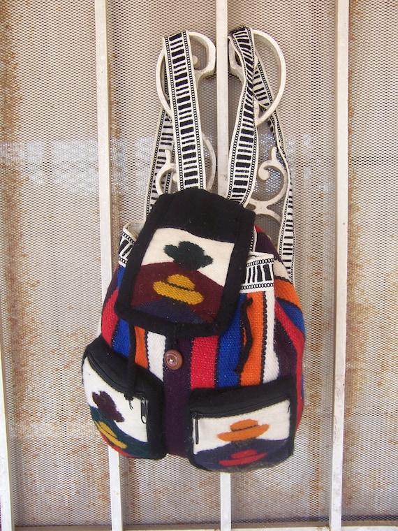 Vintage Cute Southwestern Backpack  Drawstring Bag