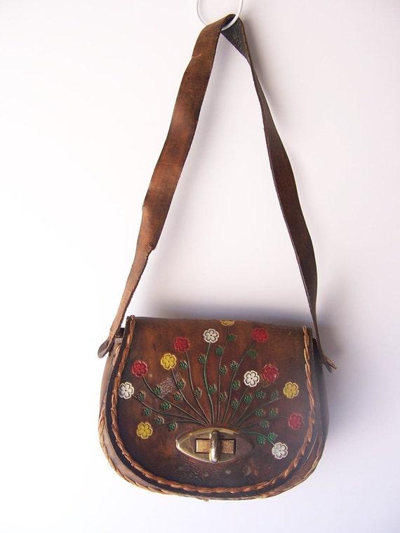 Vintage FLORAL Tooled Leather Handbag