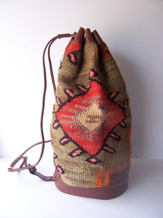 Vintage Southwestern Ethnic Bucket Backpack
