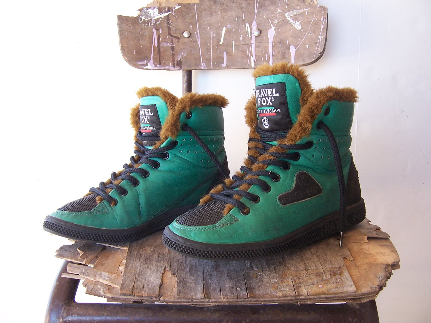 Vintage 80s Travel Fox Ankle Lace Up Boots Sneakers Rare
