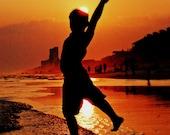 Inspirational Art Print - inspirational home decor - sunset silhouette Florida Beach Gulf Coast 11 x 14 print