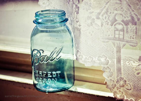 Items similar to blue ball mason jar art print kitchen for Kitchen jar decoration