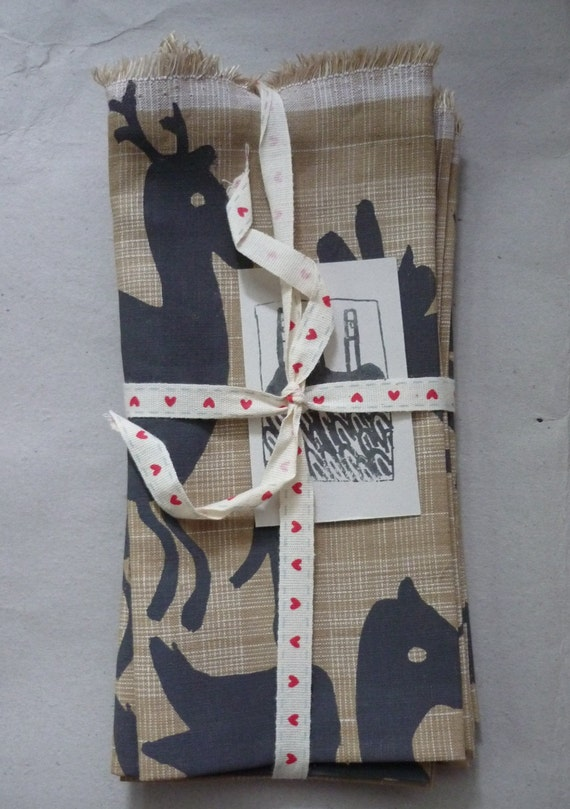 Hand printed Mexican design  linen Napkin x 4