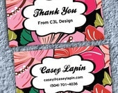 Customizable Thank You Tags or Business / Mommy / Calling Cards (Pink Flowers) - Digital File