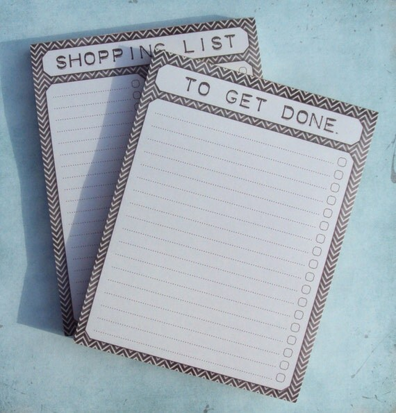 To Get Done Note Pad and Magnetic Shopping List Note Pad - Chevron Stripe Design - 50 Sheets Each - Set of 2