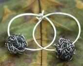 Silver Hoop Earrings - Modern Wire Crochet Earrings - Sterling Silver Filled - Rustic Earrings - Sterling Hoop - Modern Rustic Jewelry