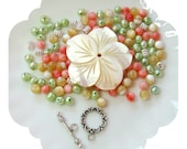Beads a Plenty, MOP  Flower Pearls Pendant Beads DIY