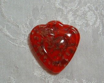 Red Lampwork Heart Pendant Focal  Glass Bead (1)