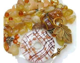Beads a Plenty, Lampwork Donut Fluorite Glass Gold DIY