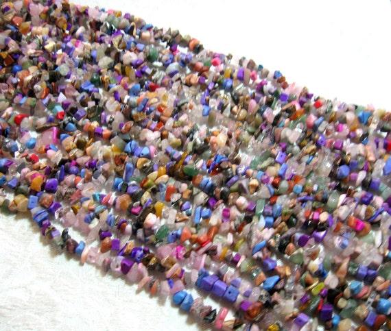 "Multi Gemstone Chip Beads 34"" Strand Purple"