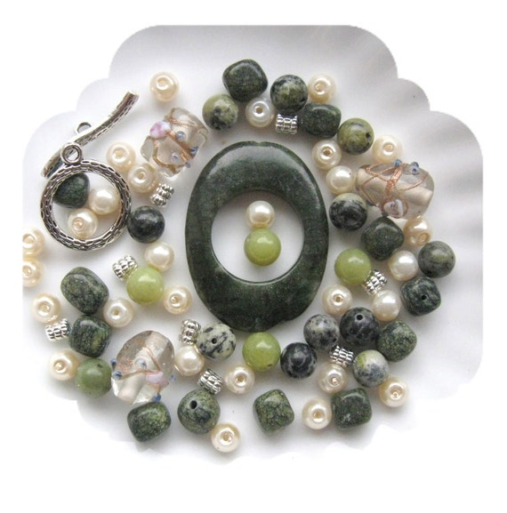 Bead Kit Green Jasper Frame Pendant Focal Pewter Gemstone Beads DIY Jewelry Kits Beads a Plenty ™