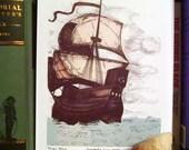 Ship's Ahoy-5x7 Art Print//Pirate Ship//Nautical Illustration/ father's day