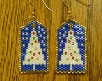 White Christmas Tree Beaded Earrings