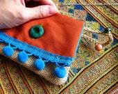Boho Purse in Orange, Burlap Jute with  Blue Pompom - Small Upcycled Gypsy Card Holder