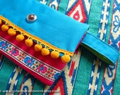 Clutch Purse Wallet in Native Folk Blue and Pink - Lime Green on the Inside, Jute and Cotton