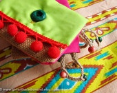 Small Purse in Jute Lime Green with Red Pompom / Neon Green Indie Gypsy Coin and Card Holder