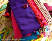 Purple Gypsy Clutch Purse in Violet and Pink - Handmade with Jute, Cotton and Red Pompom