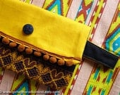 Clutch Purse Yellow, Woodland Butterfly - Sunshine, Brown and Black / Handmade with Jute and Cotton